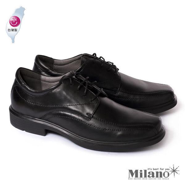 【W&M】都會紳士減壓系列手工車正裝男仕繫繩皮鞋-黑