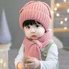 寶寶帽  針織毛線帽嬰兒帽 +針織圍巾圍...