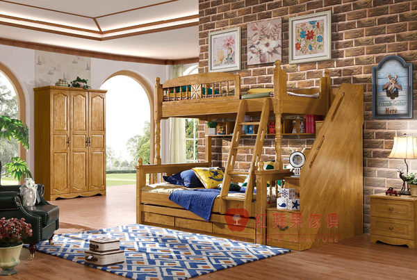 [紅蘋果傢俱] SM8808 北美系列 歐式 美式 英式 仿古 全實木 雙層床 組合床 床架 拖床 衣櫃 梯櫃