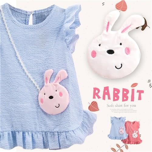 花邊帶兔格紋泡泡布上衣小洋裝-2色(270499)★水娃娃時尚童裝★