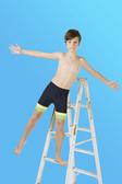 【M9233】梅林泳裝2020新品特價~男童黑色搭黃綠褲管馬褲