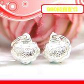 銀鏡DIY S990純銀DIY材料配件~立體刻花如意吊墜-長命富貴(迷你版)/適合手作蠶絲蠟線衝浪繩