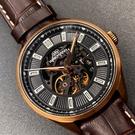 星晴錶業-WAKMANN威克曼男女通用錶,編號WA00002,42mm玫瑰金錶殼,咖啡色錶帶款