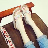 中跟人字拖度假拖鞋女夏時尚新款百搭外穿海邊厚底防滑沙灘鞋〖夢露時尚女裝〗