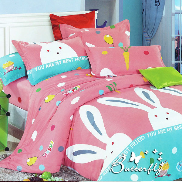 【GALATEA】快樂兔子 (柔絲絨雙人加大床包兩用被四件組)