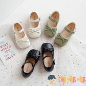 女童公主方頭皮鞋韓版舒適奶奶鞋兒童軟底寶寶小童豆豆鞋【淘嘟嘟】