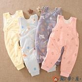 嬰兒背帶褲純棉加厚保暖棉褲兒童開襠長褲秋冬季【淘夢屋】