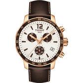 TISSOT 天梭 QUICKSTER CLASSIC 計時運動手錶-白x玫瑰金框/42mm T0954173603701