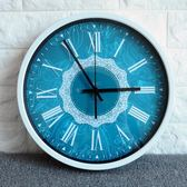 歐式 美式藍色巴洛克花紋石英鐘靜音鐘表深藍夢幻創意掛鐘204igo   酷男精品館