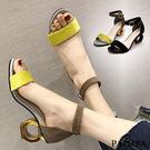 PAPORA時尚圈圈跟涼鞋KY569黑/黃