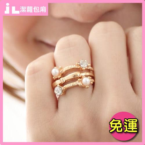 JLNice 潔蘿包廂 免運費 閃鑽珍珠蝴蝶結3件套戒指(造型戒指情人節交換物)