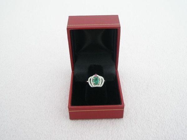 【歡喜心珠寶】【天然祖母綠0.8克拉加銀k金皇冠型晶鑽戒台】尚比亞祖母綠寶石戒子「附保証書」