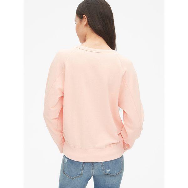Gap女裝 休閒圓領套頭休閒上衣 469016-燭台珊瑚紅