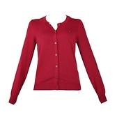【南紡購物中心】Tommy Hilfiger 經典刺繡標誌圓領排釦長袖針織衫-紅
