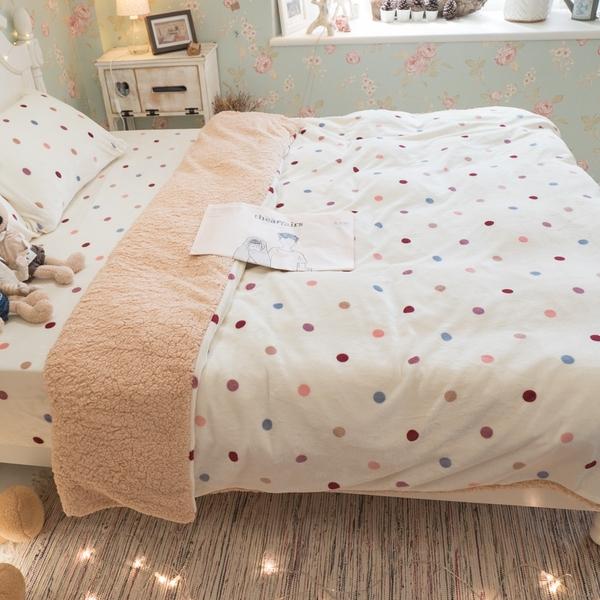 微溫棉花糖 (雙人) 法蘭絨 床包+雙人被套四件組 溫暖舒適 觸感細緻 溫暖過冬