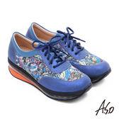 A.S.O 活力微笑 牛皮壓紋奈米氣墊休閒鞋  藍