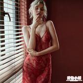 情趣睡衣 今夕何夕 紅色火辣性感睡衣蕾絲深V鏤空超薄透視透明吊帶睡裙女