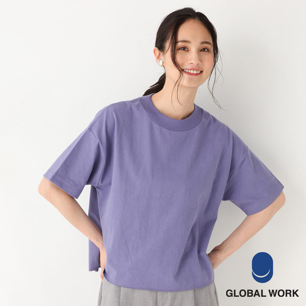 GLOBAL WORK女素色圓領前短後長水洗寬版T恤上衣-四色