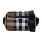 【台中米蘭站】全新品 BURBERRY 格紋環保帆布斜背腰包(8042038-樺木棕)