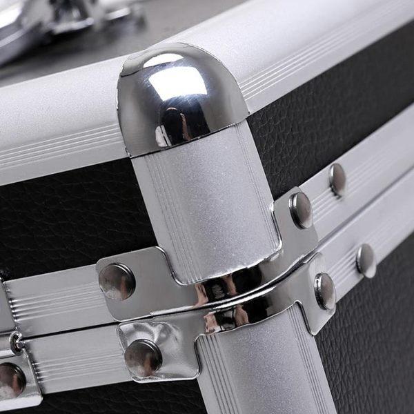 化妝包 鋁合金化妝箱手提多層大容量收納盒品簡約小號便攜帶鎖化妝包   宜室家居