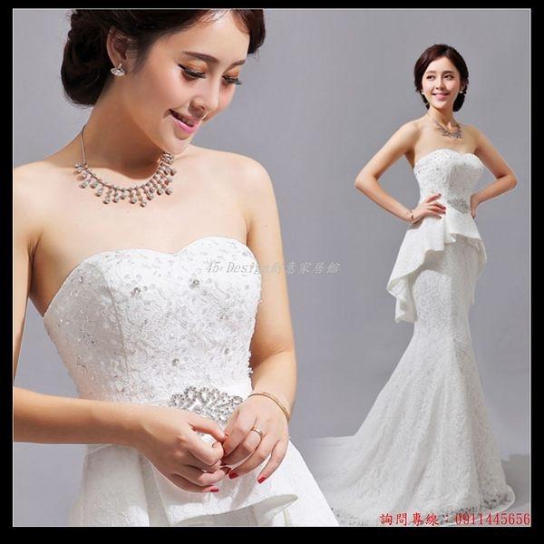 (45 Design婚紗禮服) 客製化7天到貨 春季最新款性感抹胸魚尾拖尾韓式新娘蕾絲婚紗禮服