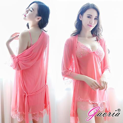 情趣用品【Gaoria】熱情如火 深V薄紗三件式外罩衫 性感情趣睡衣 粉 N4-0076