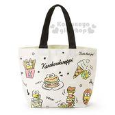 〔小禮堂〕大眼蛙 帆布手提袋《米.滿版》便當袋.美食大賞系列 4901610-37885