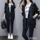 風衣女秋季中長款外套寬鬆版休閒學院風bf長袖棒球服外套『小宅妮時尚』