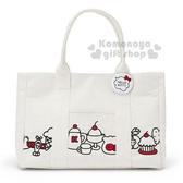 〔小禮堂〕Hello Kitty 帆布刺繡肩背包《白.大臉.甜點》手提包.側背包.歡樂一家親系列 4901610-06241