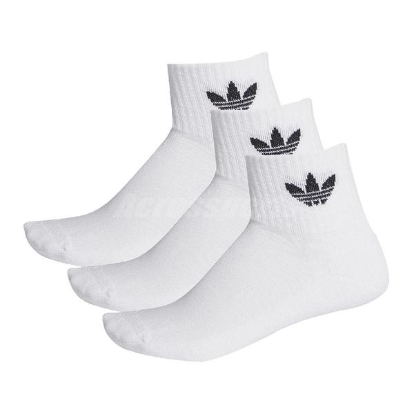 adidas 襪子 Mid-Cut Crew Socks 3雙入 白 黑 三葉草 運動襪 愛迪達【ACS】 FT8529