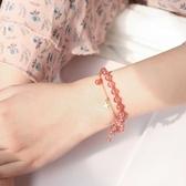 草莓晶招桃花水晶手鍊女閨蜜純銀包金轉運珠