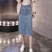 韓版超顯瘦 修身中長版 A字裙 牛仔長裙