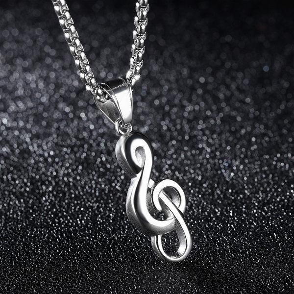 中性項鍊 Z.MO鈦鋼屋 音樂符號造型項鍊 嘻哈項鍊 白鋼項鍊 中性項鍊【AKS1285】單條價