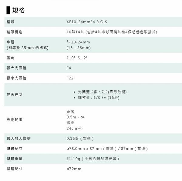 FUJIFILM XF 10-24mm F4 R OIS 超廣角鏡頭 變焦鏡 F4R【平行輸入】 WW
