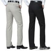 夏季薄款中老年人男士休閒褲寬鬆直筒褲純棉長褲爸爸褲中年男褲子-Ifashion