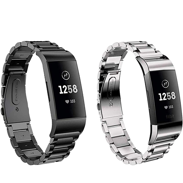 [9美國直購] 錶帶 Aresh Compatible with Fitbit Charge 3 Bands,Stainless Steel Replacement Band Strap (Black/Silver)