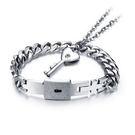 Mao 【5折超值價】 最新款創意同心鎖愛心鑰匙情侶款鈦鋼手鍊,項鍊(一對優惠價)