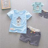 套裝 韓版 透氣 舒適 棉質 男孩 便裝 休閒風  短袖上衣+短褲 二色 寶貝童衣