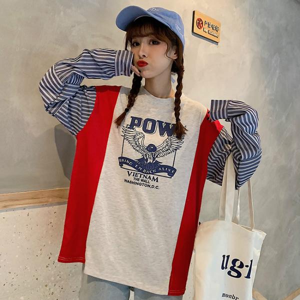 清倉188 韓系原宿風條紋拼接寬鬆薄款單品長袖上衣