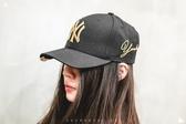 ISNEAKERS New Era MLB 洋基經典刺繡LOGO 黑金配色 復古 老帽 大聯盟棒球帽 配件