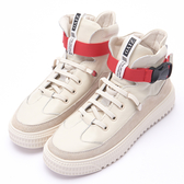Hong Wa 仿舊設計牛皮拼接高筒休閒球鞋 - 米白