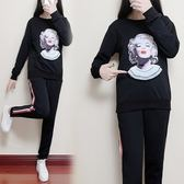 長袖上衣長褲套裝XL-5XL中大尺碼26613秋季新款胖MM大碼女裝休閑運動美女頭像兩件套裝韓依紡