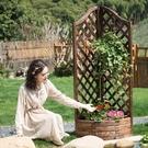 戶外陽台碳化防腐木柵欄網格花槽爬藤木花盆架花槽隔斷花架花箱 小山好物