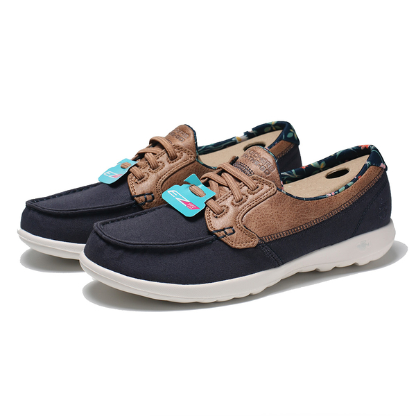 SKECHERS 休閒鞋 GO WALK LIKE 藍色 皮革 花卉 帆船鞋 女(布魯克林) 136098NVY