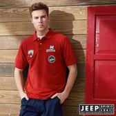 【JEEP】時尚美式貼布素面短袖POLO衫 (紅)