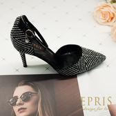 現貨 繫帶腳背帶尖頭鞋高跟鞋推薦 星光女神 晚宴涼鞋  EPRIS艾佩絲-華麗黑