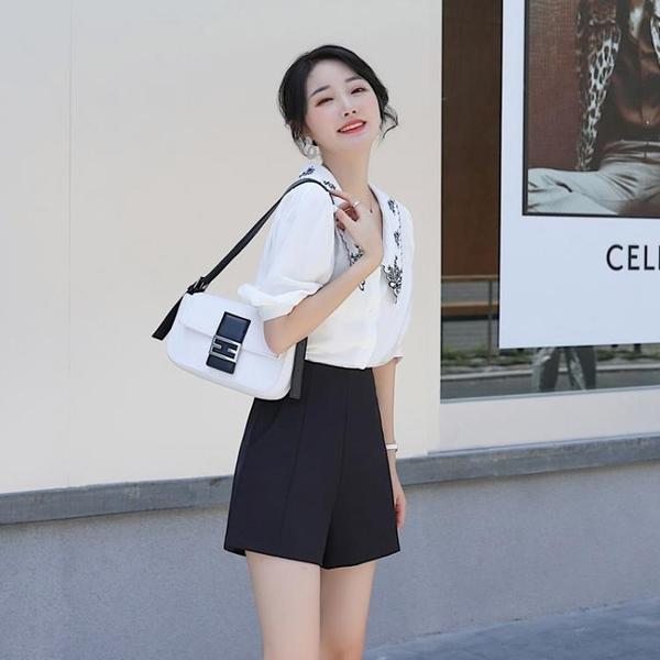 休閒短褲 短褲女夏寬鬆2020新款黑色高腰西裝顯瘦外穿a字網紅雪紡闊腿白色