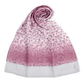 YSL 漸層豹紋縷空裝飾薄圍巾(紫紅色)930004-95
