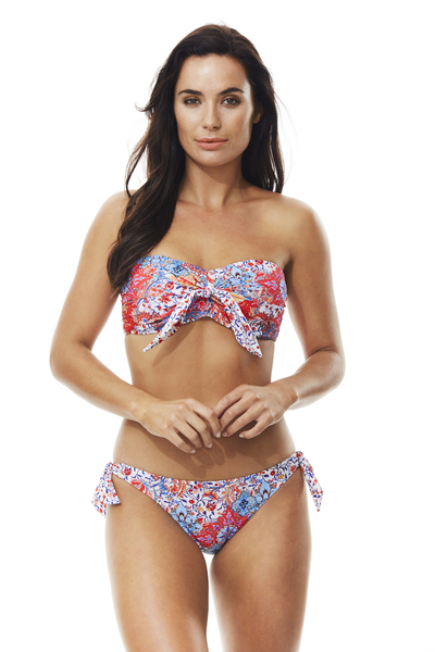 Moontide  KNOT FRONT BANDEAU  比基尼 TOP-女(紅)