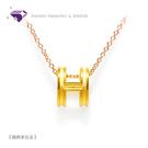 【元大珠寶】精典素色大H黃金墜 加贈玫瑰銀鍊 -純金9999國家標準